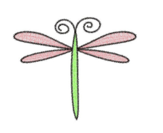 Dragonfly Embroidery Design Etsy