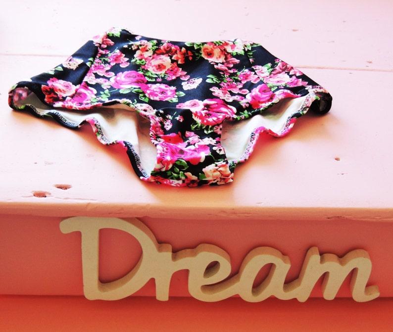 1f6b8182b6 Bow Bikini High Waist Vintage pink black floral roses Bandeau | Etsy