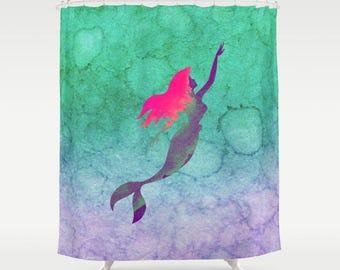 Disney Shower Curtain Ariel The Little Mermaid Ombre Watercolor Princess