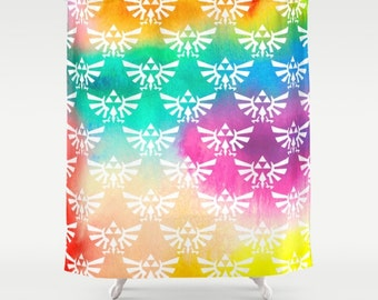 Zelda Shower Curtain Triforce On Bright Watercolor Hylian Royal Crest Bathroom
