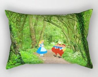 Alice in Wonderland with Tweedledee and Tweedledum in the Forest Rectangular Pillow with Insert