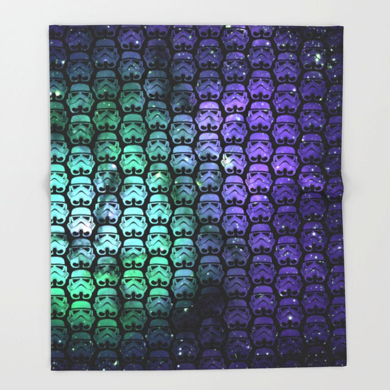 Star Wars Throw Blanket Star Wars Blanket Star Wars Galactic Empire  Stormtroopers in Green and Purple Stars Blanket
