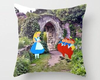 Alice in Wonderland with Tweedledee and Tweedledum in the Garden Pillow with insert Indoor or Outdoor