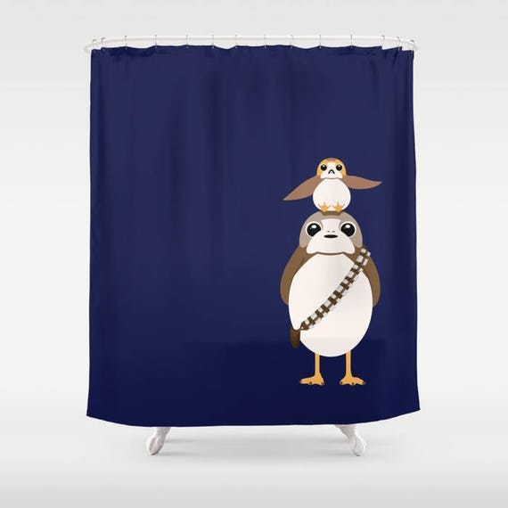 Star Wars Shower Curtain Porg Porgbacca And
