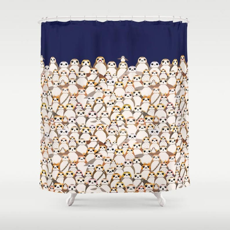 Star Wars Shower Curtain Porg Porgs On Navy The