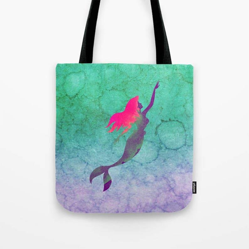 Ariel Ombre Watercolor Bag The Little Mermaid Tote Bag Ariel Tote Bag Disney Tote Bag Mermaid Shoulder Bag Disney Princess