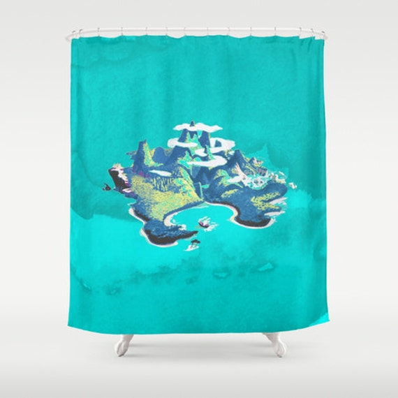 Disneys Peter Pan Neverland Watercolor Shower Curtain