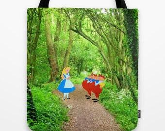 Alice in Wonderland with Tweedledee and Tweedledum in the Forest Tote Bag