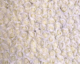 Flower backdrop etsy wedding flower backdrop silk rose ivory flower wall floral wedding background cream white for photography backdrops panels 8x8ft cjhq q010 mightylinksfo