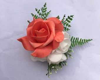 Matching Bouquet Available Mother of Bride Customisable Coral Salmon Pink Button Boutonniere Corsage Available in any colourdesign