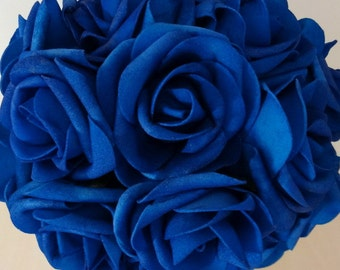 12 bunches royal blue artificial flowers foam roses for brides etsy 20 pcs royal blue wedding flowers artificial flower foam roses for bridal bouquet wedding centerpiece mightylinksfo