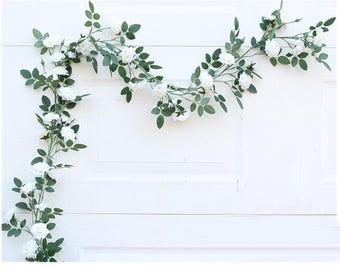 White flower garland etsy mightylinksfo