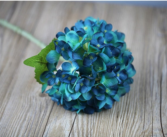 Blaue Hortensie Kunstliche Seide Hortensien 10 Stiele Bluten Etsy