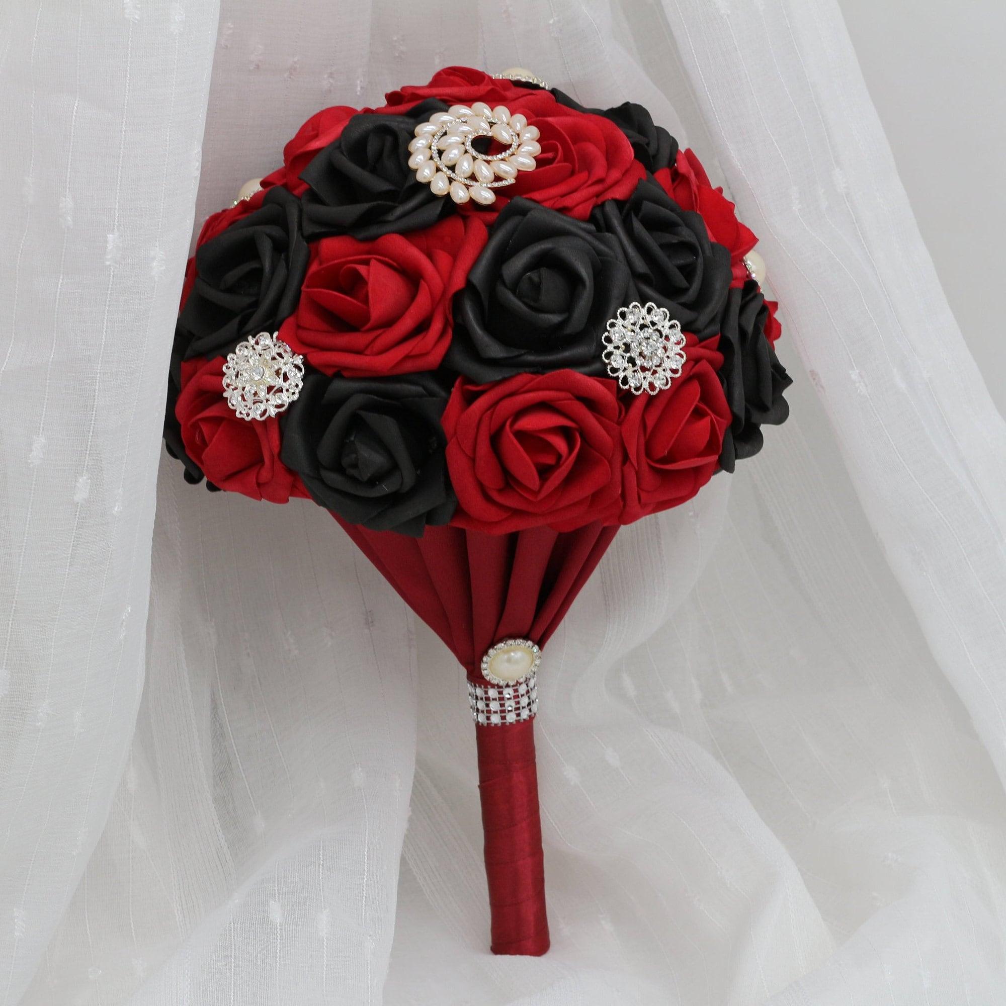 Artificial Flower Bouquet Wedding Bouquet Red Rose Jr Bridesmaid Bouquet Real Touch Roses