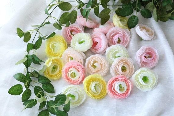 Small Ranunculus in Ivory Flower head Craft Ranunculus Fake flowers Wedding flowers Silk artificial flowers Faux flowers