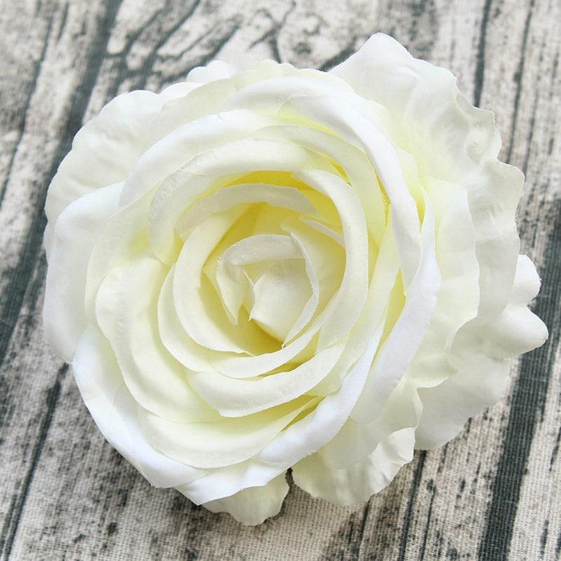 Seta Avorio Rose Teste Fiori Bianco Crema 11cm Grandi Capolini Etsy