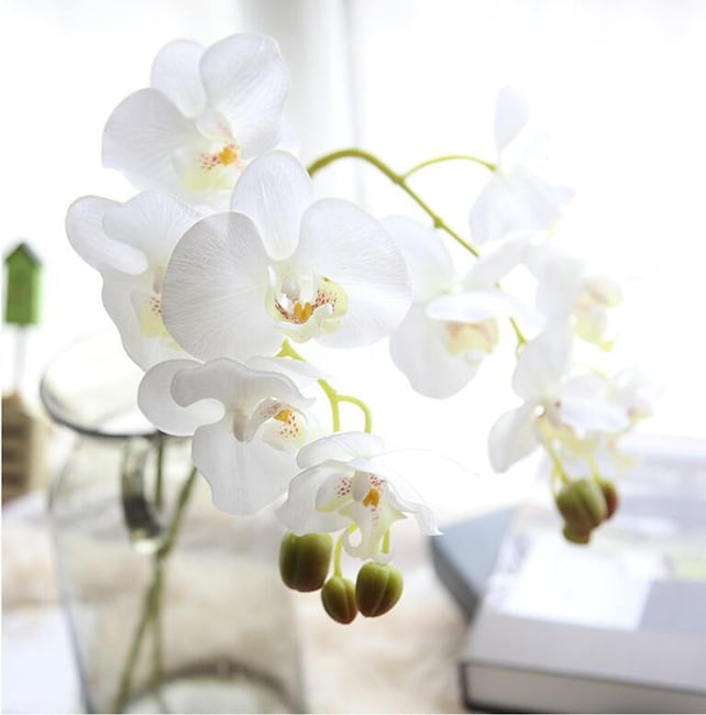 White orchid artificial flowers silk latex orchid wedding etsy image 0 mightylinksfo