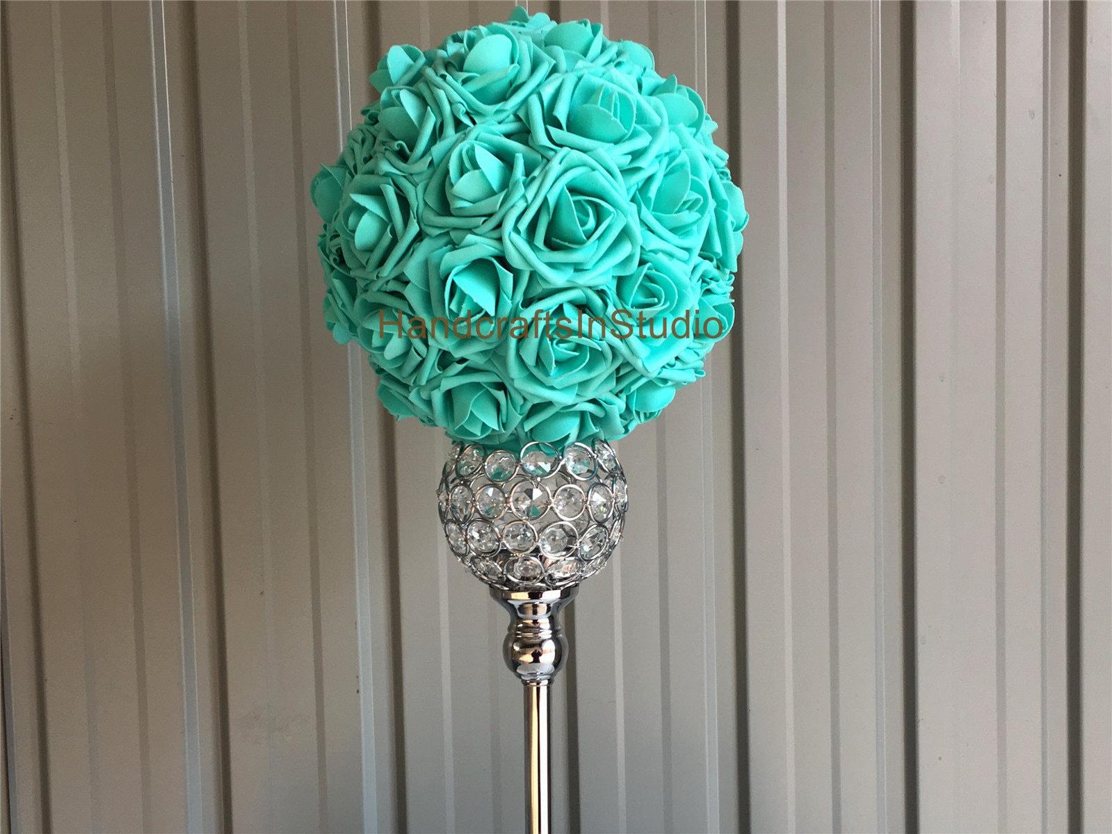 Pool Blue Flower Ball Turquoise Green Pomander Kissing Ball Etsy