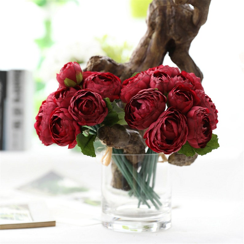 Dark Red Artificial Flowers Silk Faux Peony Bouquet Wedding Flowers Peonies for Bridal Bridesmaid Flower Arrangement Home Decoration JM802