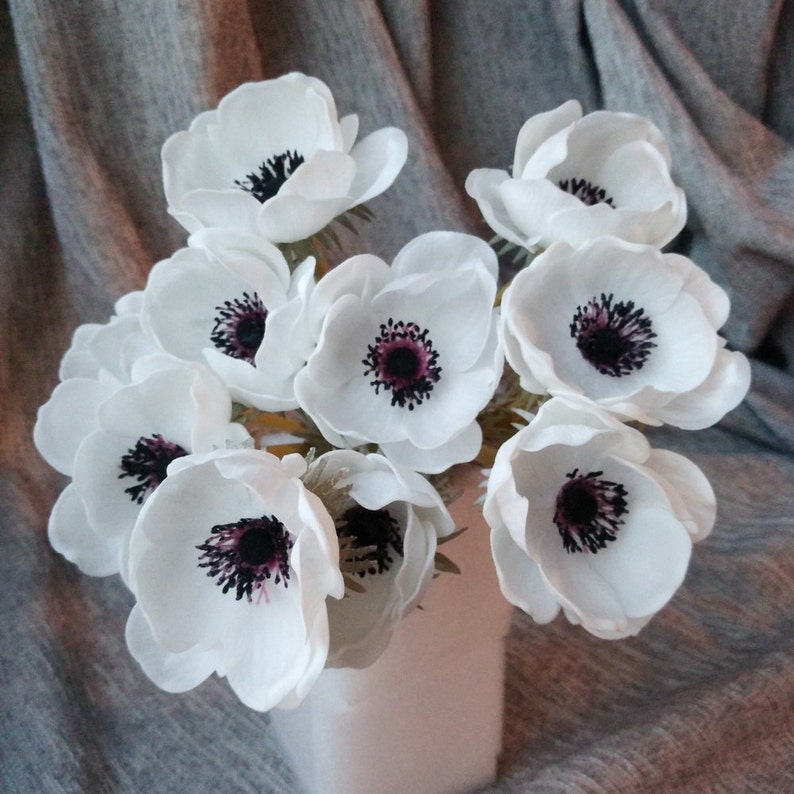 Real Touch White Anemones Flowers PU Artificial Anemones image 0