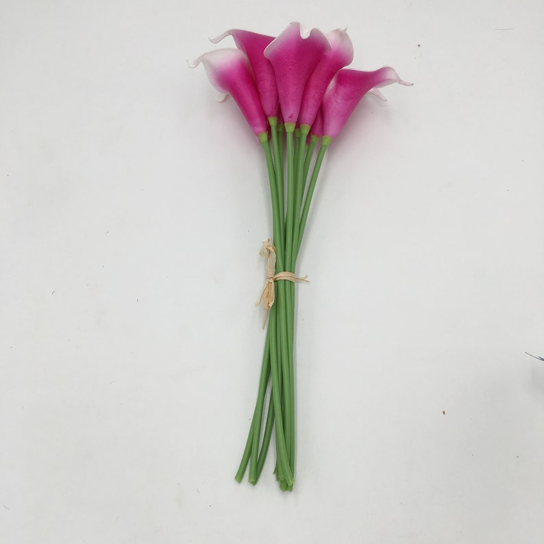 PU Calla Lily Bouquet Picasso Fuschia Calla Lilies Dark Pink Bridal Bouquet Faux Calla Lilies For Wedding Arrangement Flowers MTL-FLN032