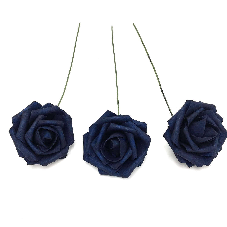 Navy Blue Wedding Flowers Navy Blue Roses Artificial Foam Rose Etsy