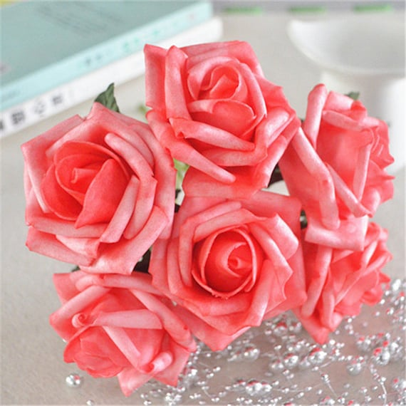 Artificial Flowers Coral Pink Wedding Flowers Supplies Fake Etsy
