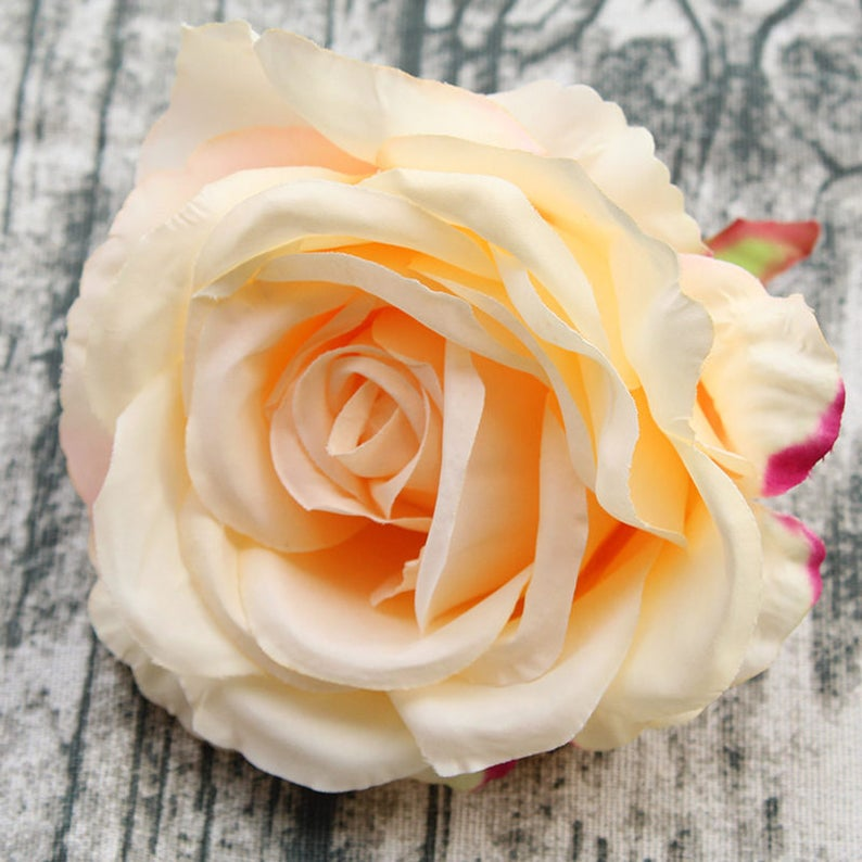 Champagne Silk Rose Head Craft Flowers 12 Cm Large Flower Etsy