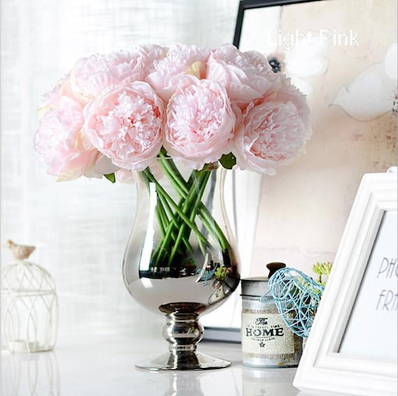 Light Pink Silk Peony Bouquet Quality Wedding Flowers 5 Heads Etsy