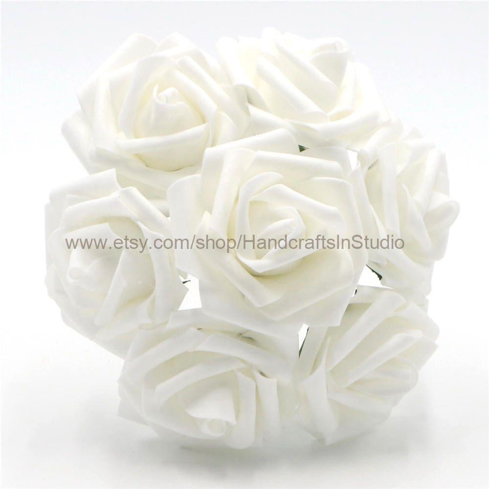 White Flowers Foam Roses Artificial White Flowers 100 Stems Etsy