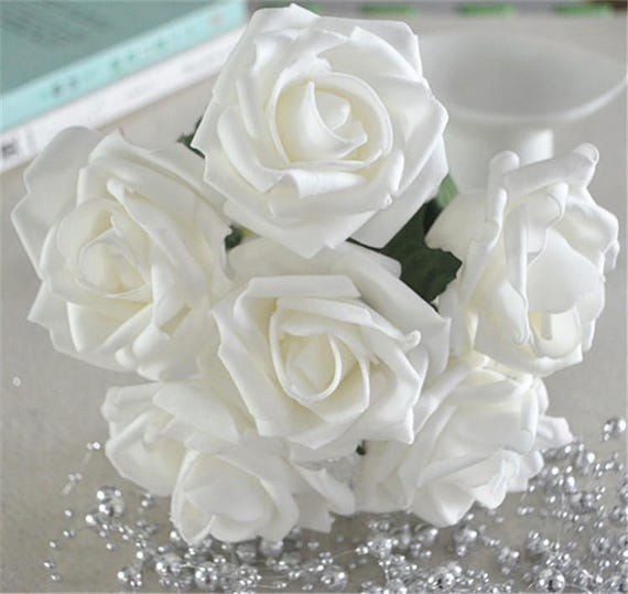 White roses foam flowers artificial off white flowers for etsy image 0 mightylinksfo