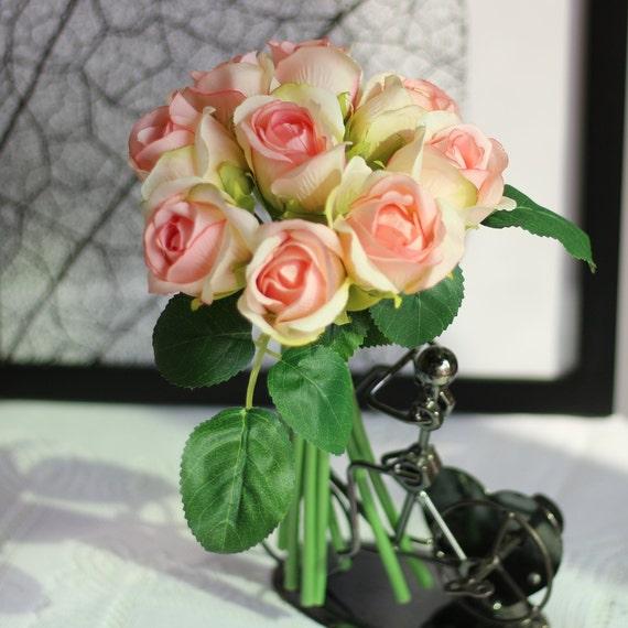 Blush Wedding Bouquet Silk Rose Buds Bouquet Diy Wedding Flower Artificial Rose Flowers Light Pink Bridal Bridesmaid Bouquet 9 Heads Jysh 04