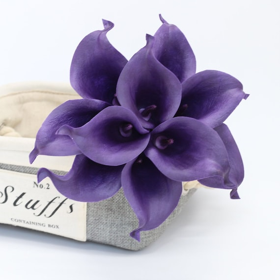 Dark Purple Calla Lily Bouquet Natural Touch Pu Calla Lilies Etsy
