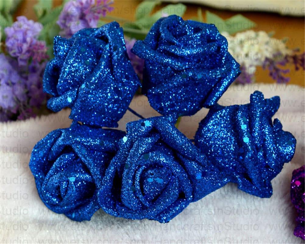 Royal Blue Flowers Glitter Roses 100 Flowers For Bridesmaids Etsy