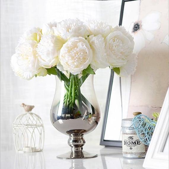 Vanrina silk peony bouquet quality wedding flowers 5 heads etsy image 0 mightylinksfo