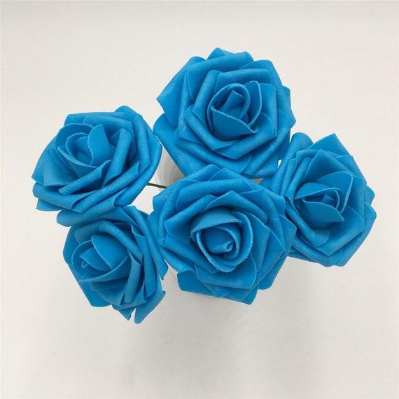 Rose Blu Turchese Artificiale Nozze Fiori 8cm Falso Rose Turqoise Fiori 100 Steli Per Nozze Bouquet Tavolo Centrotavola Lnpe015