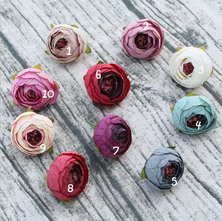 Small Tea Rose Silk Flower Heads 35cm For Hair Clips Headband Etsy