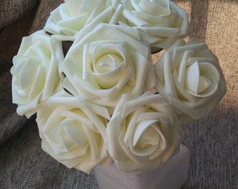 100 Stück Elfenbein Rosen Hochzeit Künstliche Blumen Fake Schaum Rosen  Blumen Hochzeit Tisch Herzstück Dekor Blumen