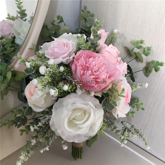 Rustic bridal bouquet pink ivory peony bouquet greenery etsy image 0 mightylinksfo