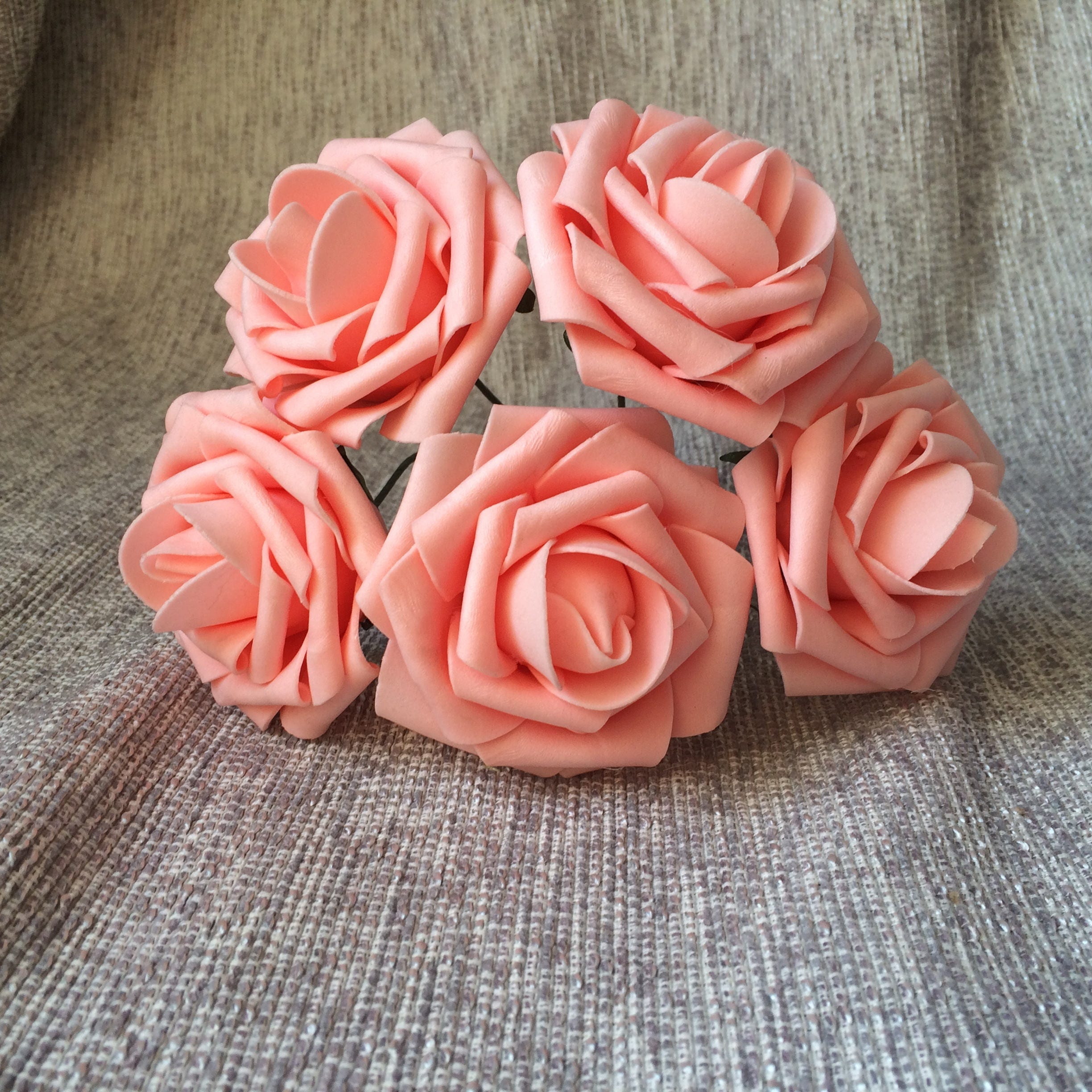Peach Pink Wedding Flowers Fake Roses Bulk 100 Stems Peach Etsy