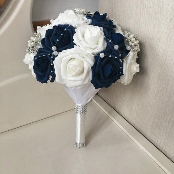 Navy Blue Wedding Bouquet Crystal Pins Bridal Bouquet luxury | Etsy
