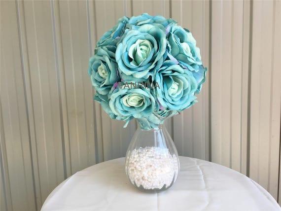 Petrol Blaue Blume Ball Petrol Blumen Seide Rose Ball Fur Etsy