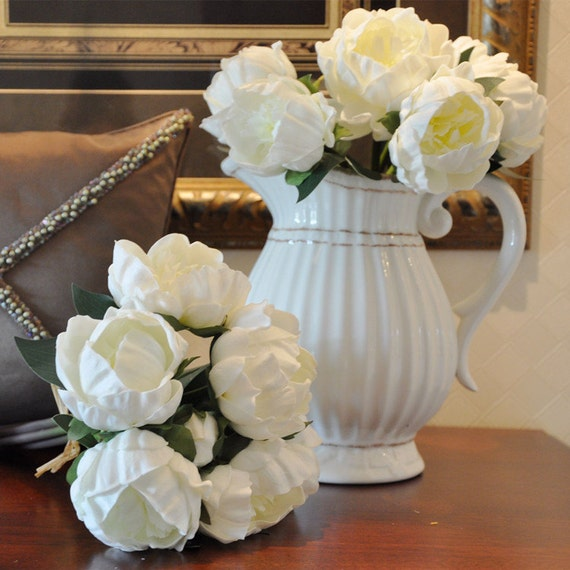 Real touch flower bouquet white peony bouquet pu latex etsy image 0 mightylinksfo