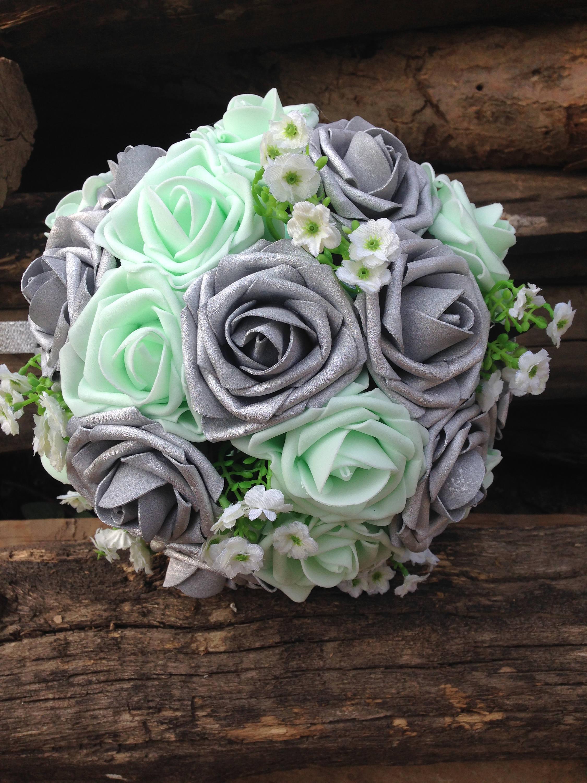 Hochzeit Blumenstrauss Brautstrauss Mint Rosenstrauss Etsy