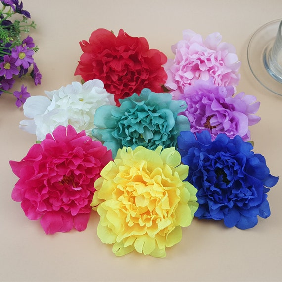 Silk peony flowers 12cm artificial peonies heads 100 for etsy image 0 mightylinksfo