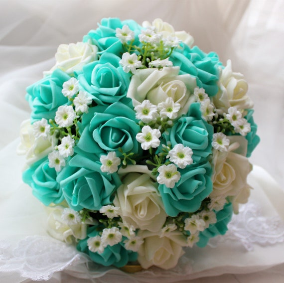 Turquoise Wedding Bouquet Turquoise Flowers Bridal Bouquet | Etsy