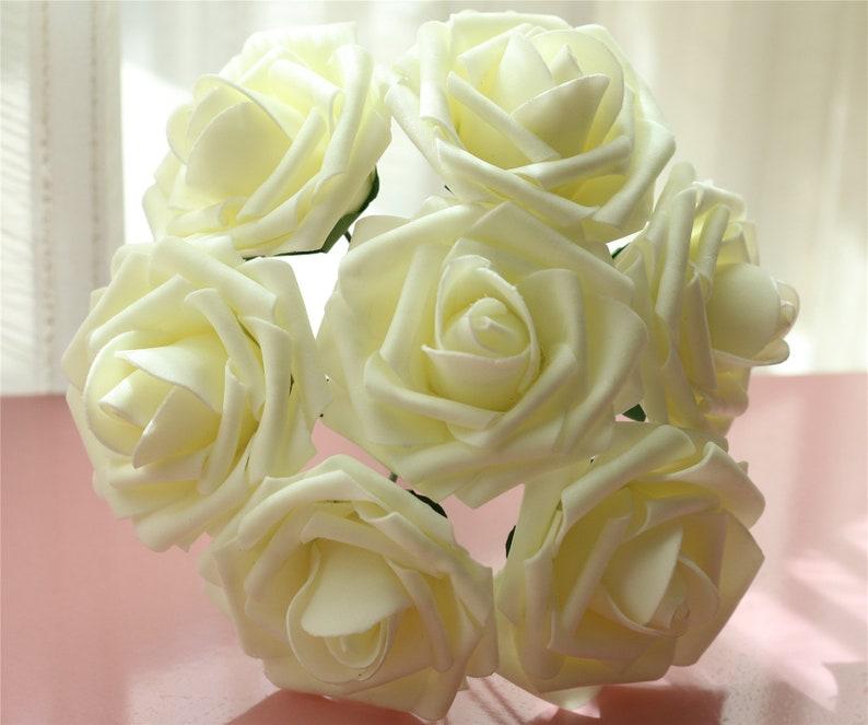 fb8a6152fec 100 pcs Ivory Roses Wedding Artificial Flowers Fake Foam Roses Floral  Wedding Table Centerpiece Decor Flowers Supplies LNPE004