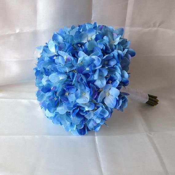 Blaue Hortensie Blumenstrauss Brautstrauss Seide Hortensien Etsy