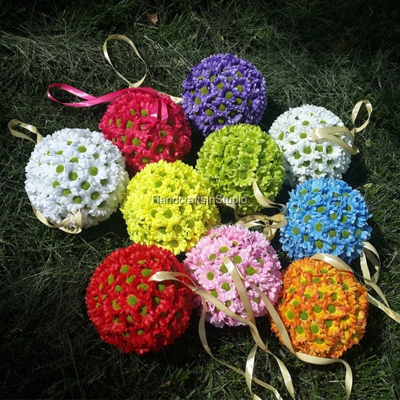 Silk flower kissing balls silk gerbera daisy sunflower kissing etsy image 0 mightylinksfo