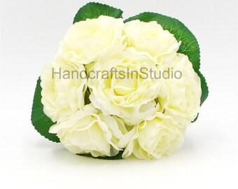 Elegant Rose Cream White Peony Bouquet Wedding Flowers Ivory Artificial Camellia Silk Flower Bouquet For Bridesmaids Bridal 7 Heads JYSH-11